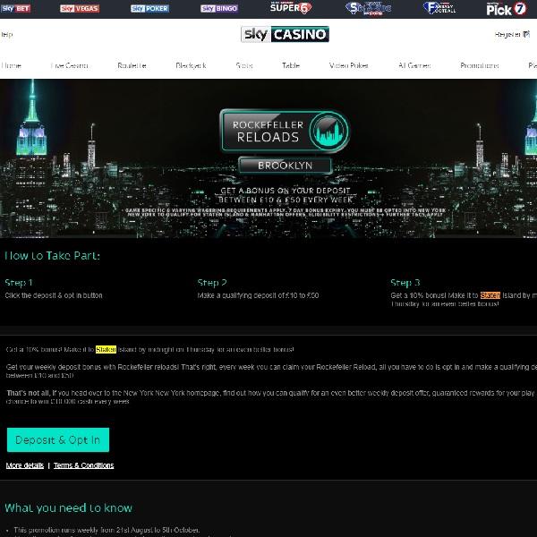 Earn a Deposit Bonus at Sky Casino This Week