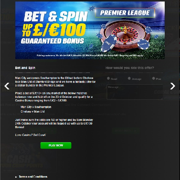Bet on Sunday's Premier League for a Coral Casino Bonus