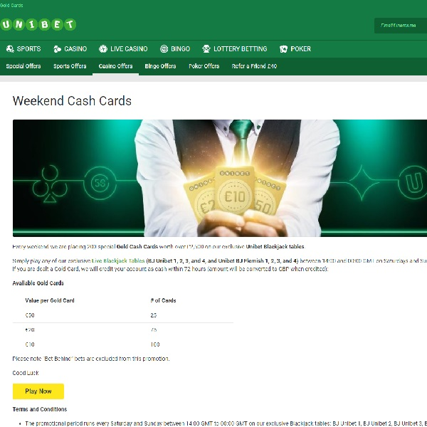Win €50 Bonuses Playing Live Blackjack at Unibet Casino