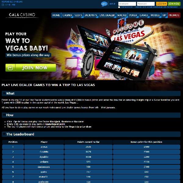 Win a Trip to Las Vegas at Gala Casino