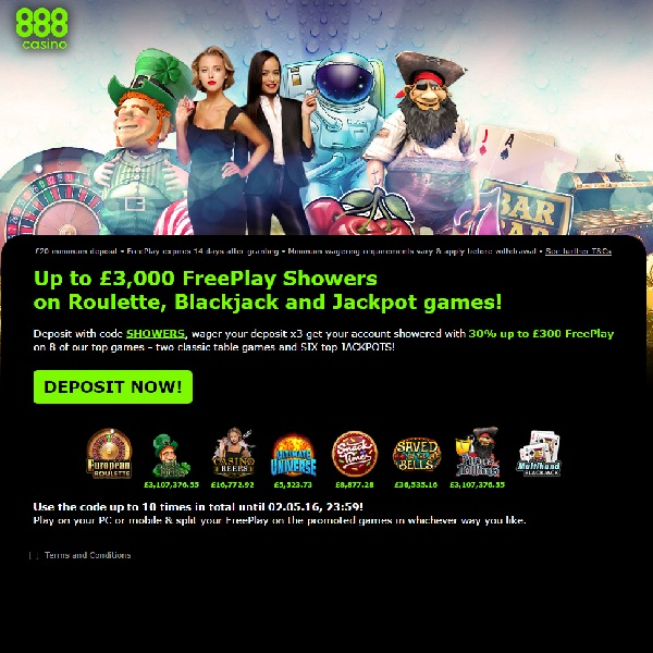 Enjoy Up to £3,000 Free Play at 888 Casino