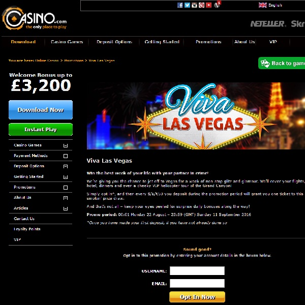 Win a Glamorous Trip to Vegas at Casino.com