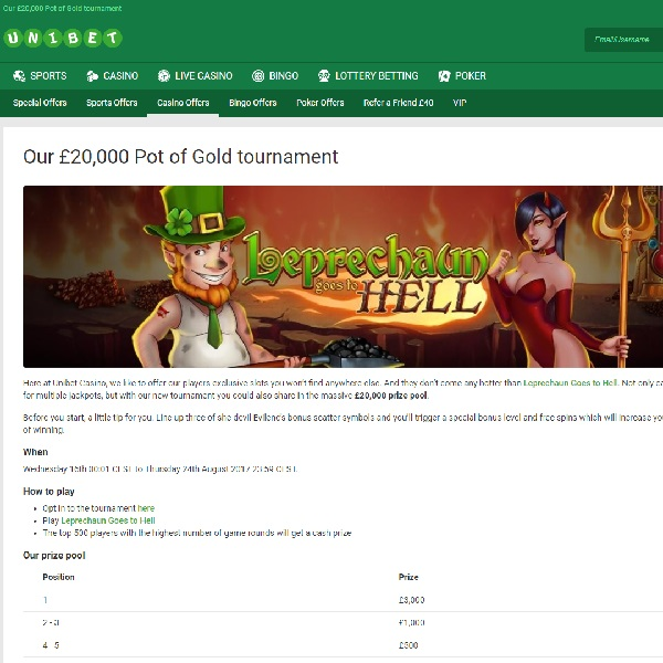 Win Up to £3,000 in Unibet's £20K Pot of Gold Tournament