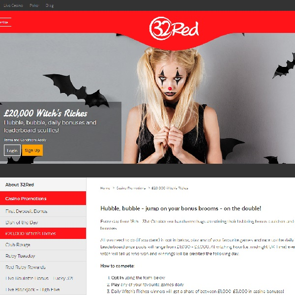 Win a Share of £20K in 32Red Casino's Witch's Riches Promo