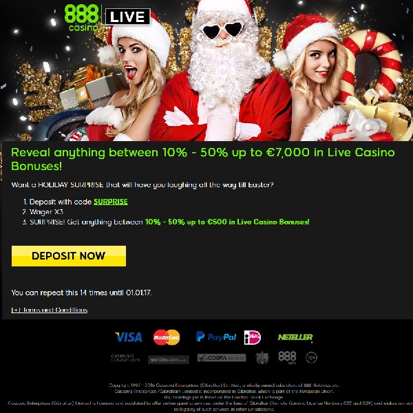 Receive Up to £7K in Surprise Bonuses at 888 Casino