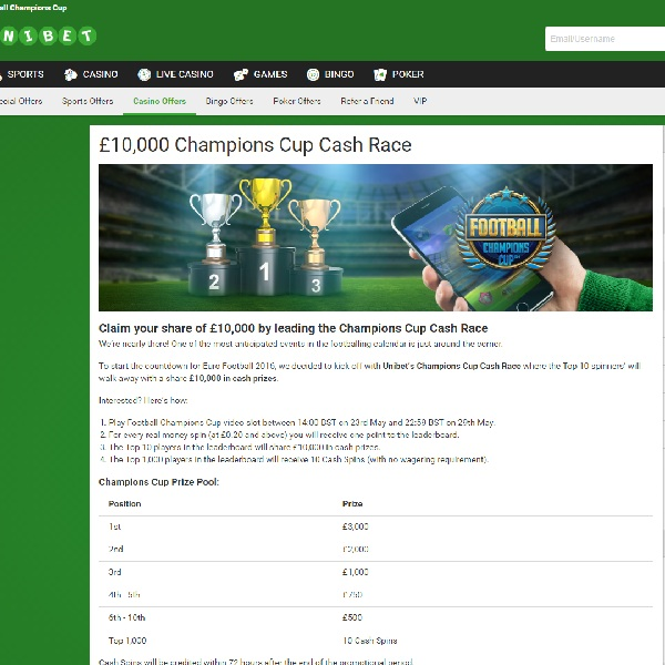Win a Share of £10,000 Playing Football Champions Cup at Unibet