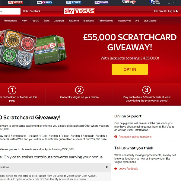 Sky Vegas Runs £55K Scratchcard Giveaway