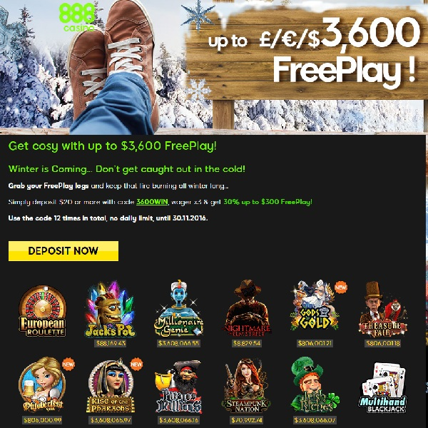 Get Cosy With Up to £3.6K Free Play at 888 Casino