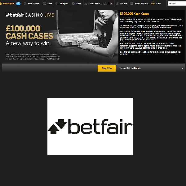 Win Up To £50K in Betfair Casino's £100,000 Cash Cases