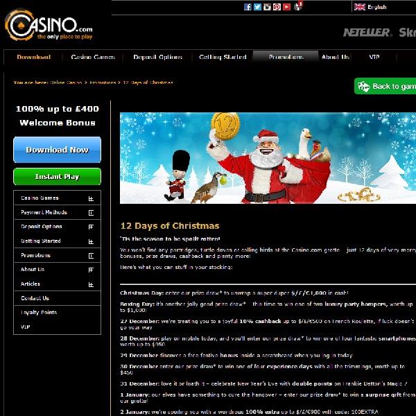 Enjoy 12 Days of Bonuses at Casino.com