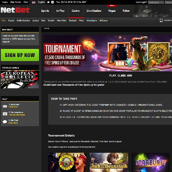 Win a Share of £2.5K and Free Spins at NetBet Casino