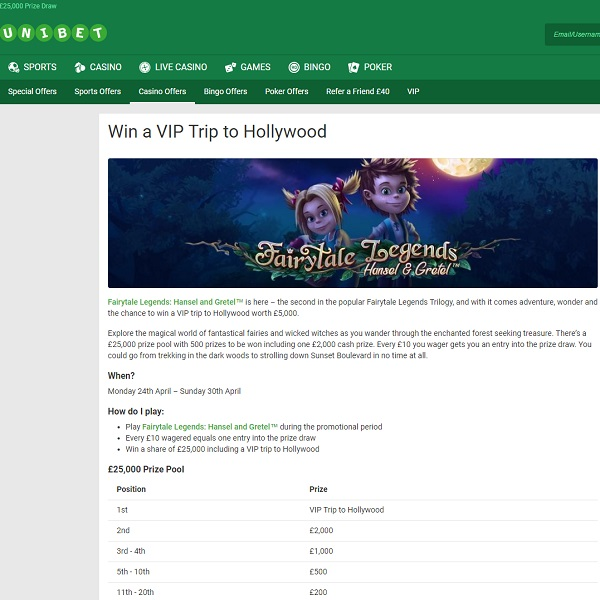 Win a VIP Trip to Hollywood at Unibet Casino