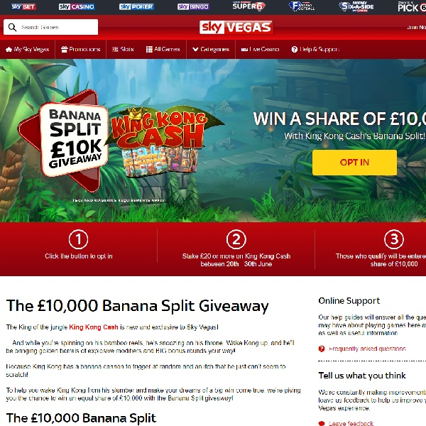 Win a Share of £10K at Sky Vegas Casino