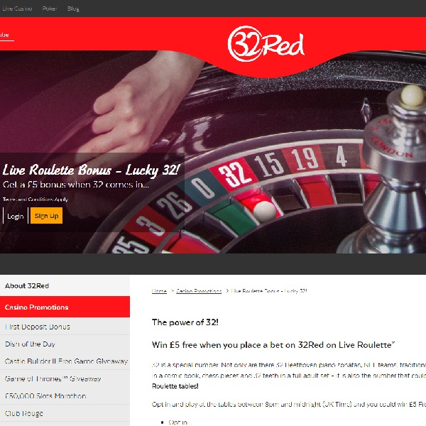 Play Live Roulette for Bonuses at 32Red Casino
