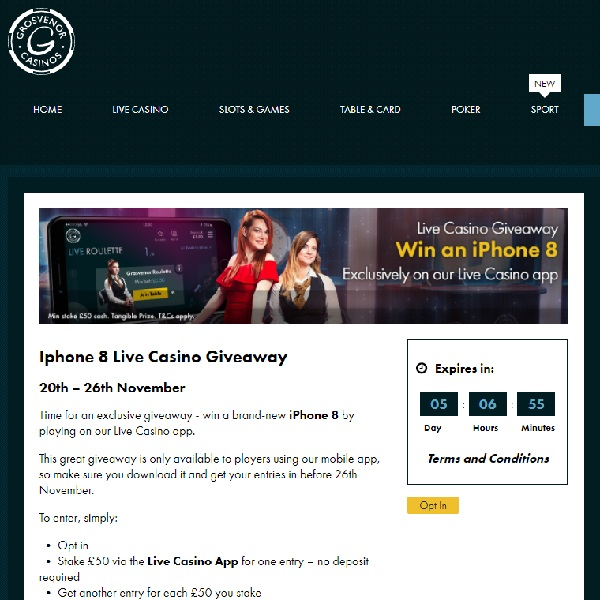 Win a Brand New iPhone 8 at Grosvenor Casino