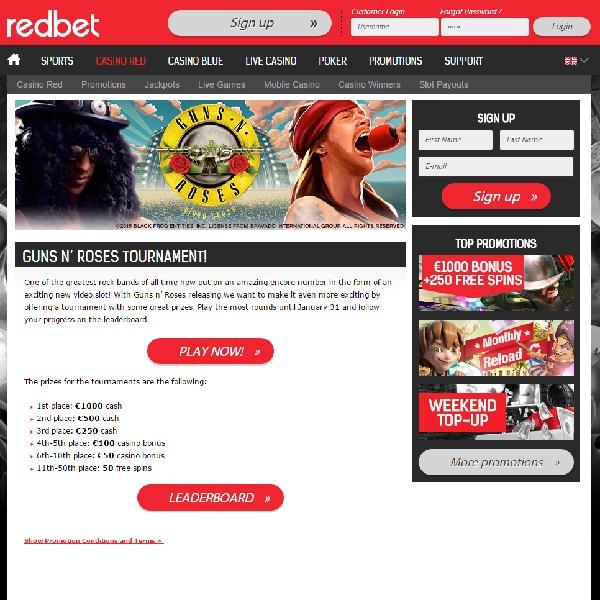 Win €1000 in RedBet Guns N' Roses Tournament