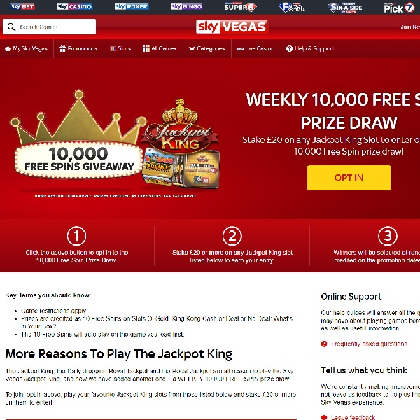 Win a Share of 10,000 Free Spins at Sky Vegas Casino