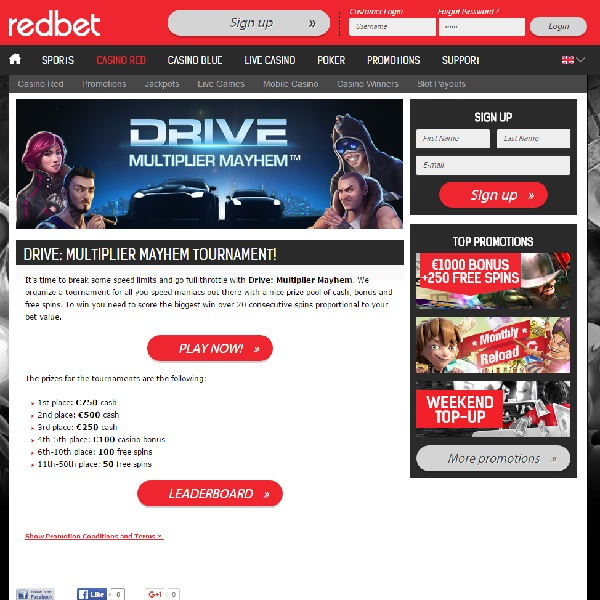 Win Cash in Redbet Casino Drive: Multiplier Mayhem Tournament
