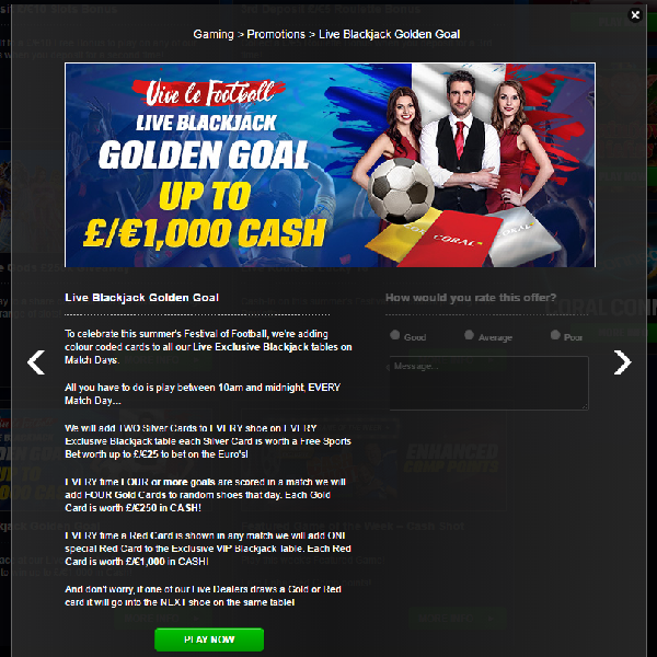 Win Up to £1,000 Cash at Coral Casino on Match Days