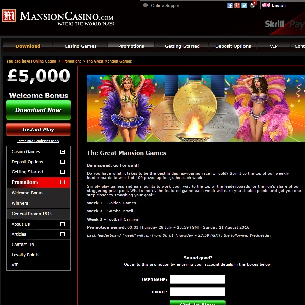 Win Thousands of Pounds and Sports Tickets at Mansion Casino