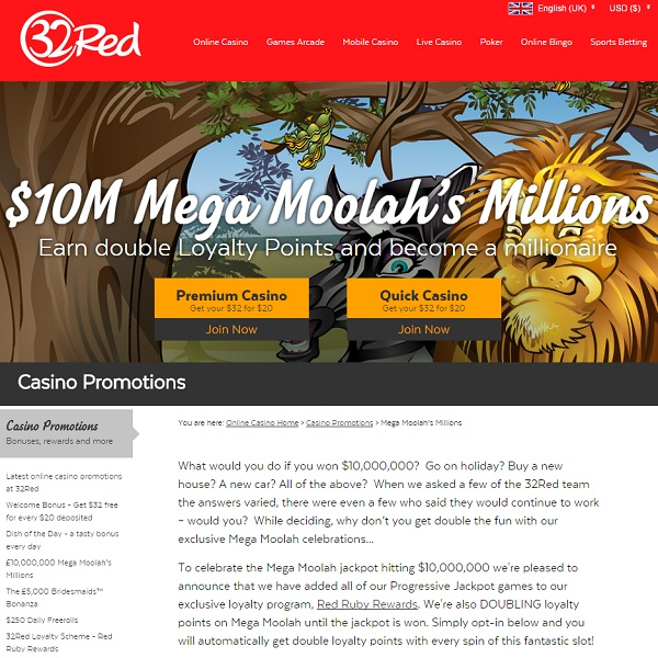 32Red Offers Double Comp Points to Progressive Jackpot Seekers