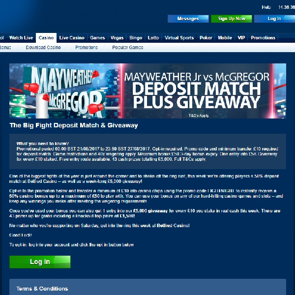 Win A Share of £5,000 Cash at Betfred Casino Today