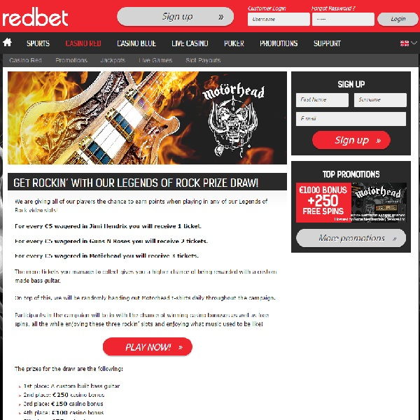 RedBet Casino Offers A Bass Guitar in Legends of Rock Prize Draw
