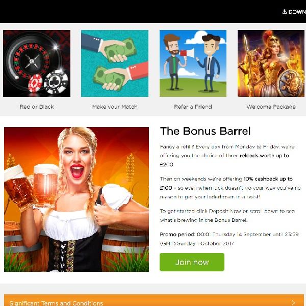 Enjoy Daily Bonuses with Casino.com's The Bonus Barrel