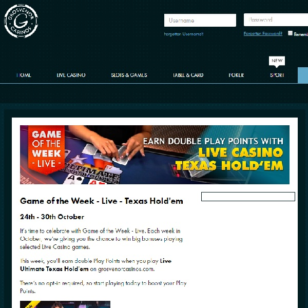 Earn Double Play Points with Live Texas Hold'em at Grosvenor Casino