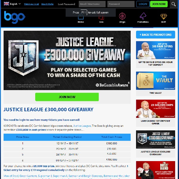 Win a Share of £300K in BGO Casino Justice League Giveaway