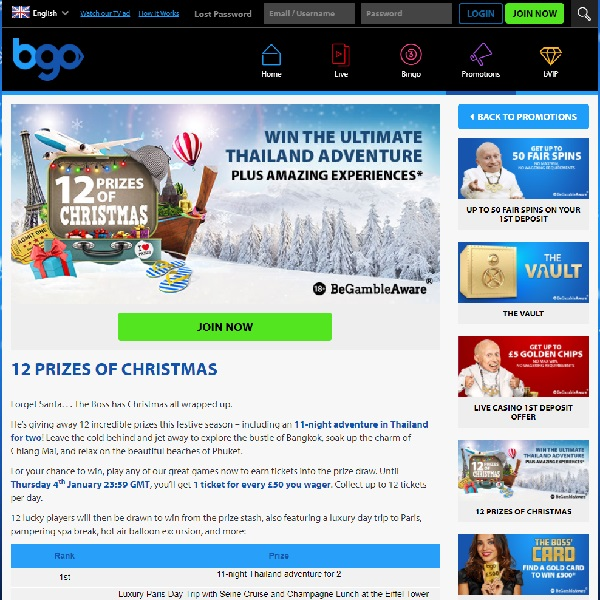 Win Fantastic Experiences with BGO's 12 Prizes of Christmas Promo