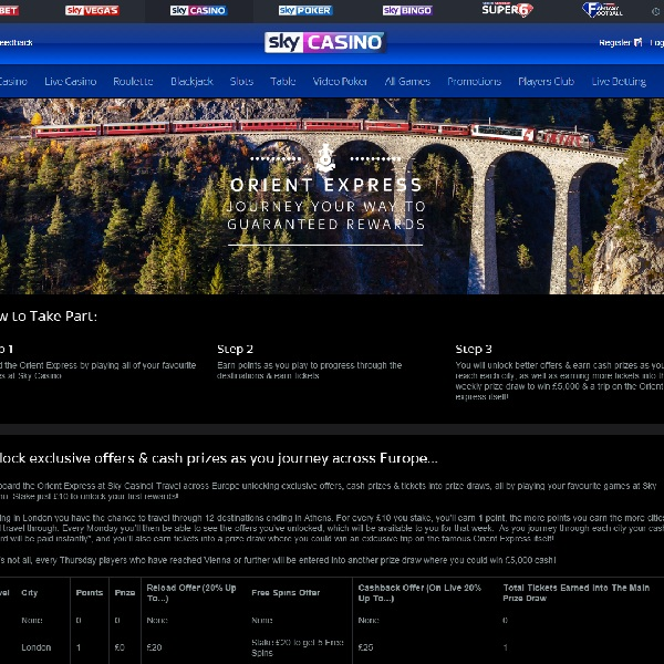 Earn Exclusive Rewards in Sky Casino Orient Express Promotion