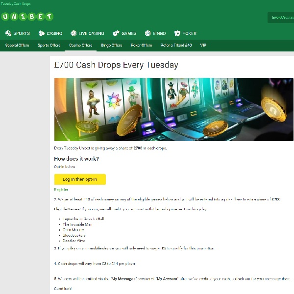 Win A Share of £700 Cash at Unibet Casino on Tuesday