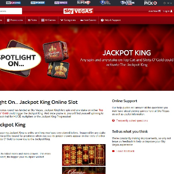 Sky Vegas Jackpot King Promo Offers Huge Progressive Jackpot
