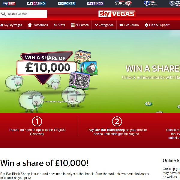 Win a Share of £10K in Sky Vegas Bar Bar Black Sheep Giveaway