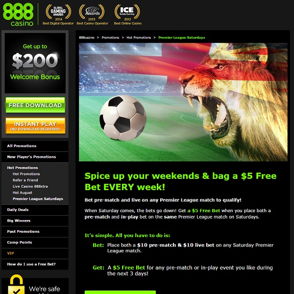 Enjoy a Free $5 Bet at 888 Casino Every Saturday