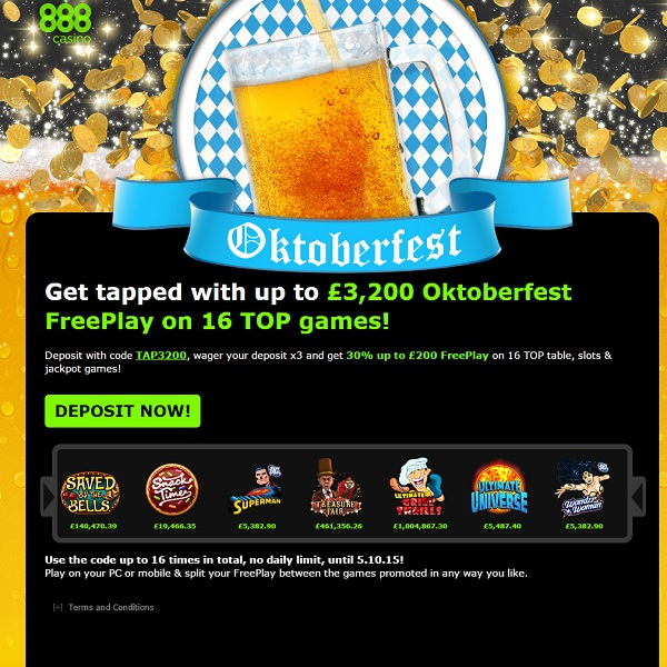 Enjoy up to £3,200 of Oktoberfest Free Play at 888 Casino