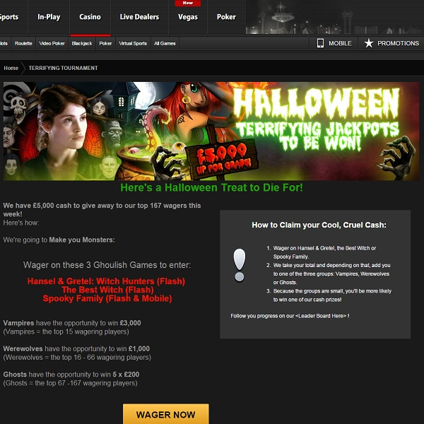 Win a Share of £5,000 Cash in NetBet's Terrifying Tournament