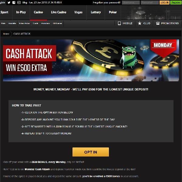 Win a £500 Bonus at NetBet Casino on Mondays
