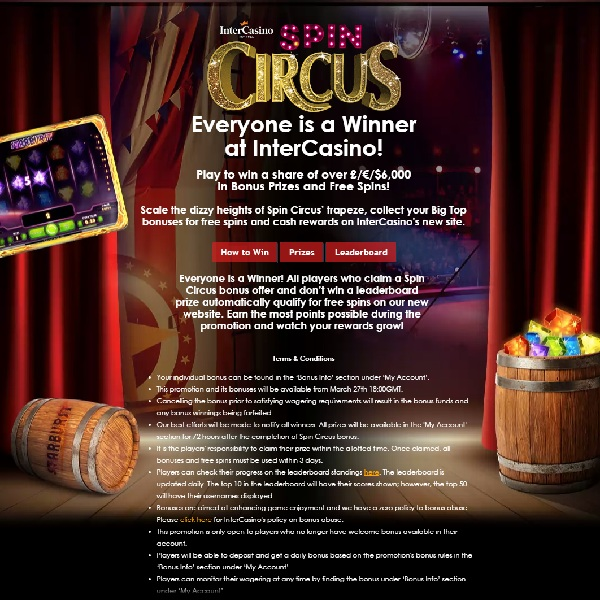 Win Bonuses and Free Spins at InterCasino