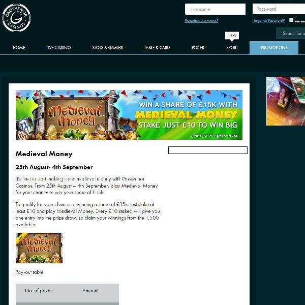 Play Medieval Money to Win £15K at Grosvenor Casino