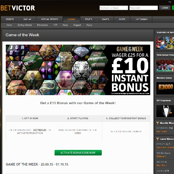 Get an Instant £10 Bonus At Bet Victor Casino