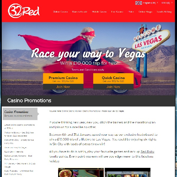 Win a Dream Holiday in Vegas at 32Red Casino