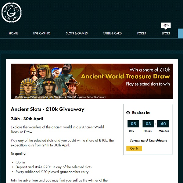 Win in Grosvenor Casino's Ancient Slots £10K Giveaway