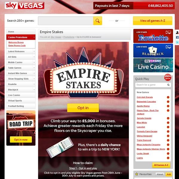 Sky Vegas Casino Offers £5K Bonuses and a Trip to New York