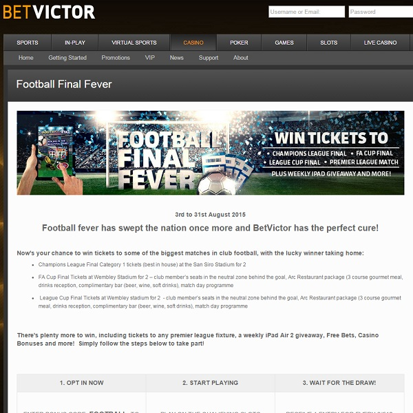 Win Tickets to Football Finals at BetVictor