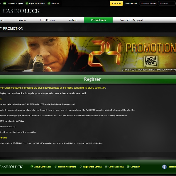 Win a Daily Cash Prize with Casino Luck 24 Promotion