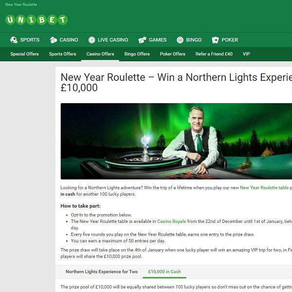 Win a Northern Lights Adventure at Unibet Casino
