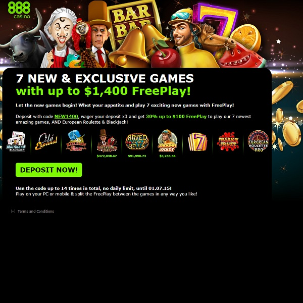 888 Casino Offers $1400 of Free Play on New Slot Releases