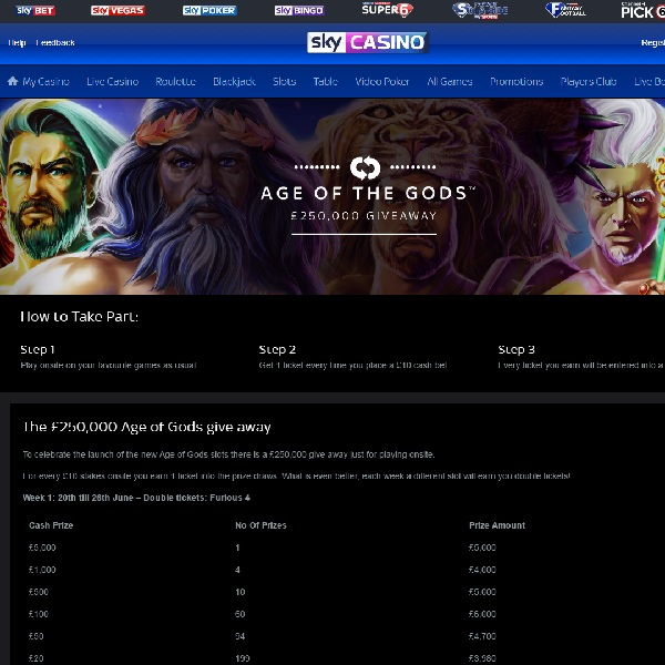 Sky Casino Runs New £250K Slots Giveaway